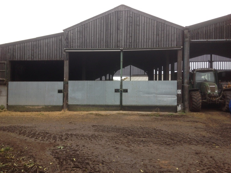 Farm buildings with badger proof gates and sidings - Bovine TB